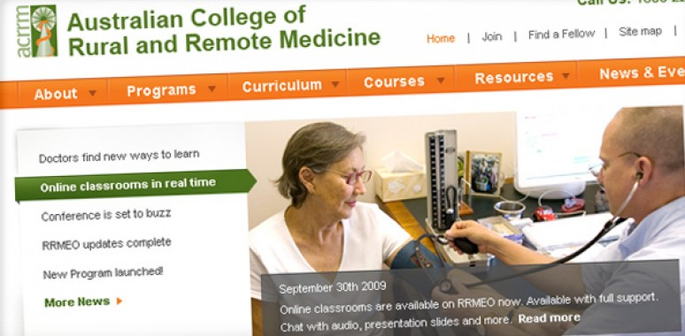 Screenshot of Australian College of Rural and Remote Medicine website